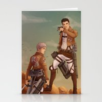 shingeki no kyojin Stationery Cards featuring Haikyuu! Shingeki no Kyojin Crossover: Sugawara and Daichi by JBadgr
