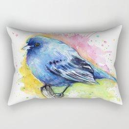 Blue Bird Indigo Bunting Colorful Animals Rectangular Pillow