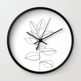 One line plant illustration - Dany Wall Clock