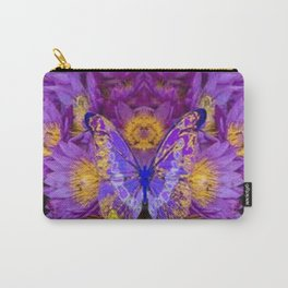 PURPLE WATER LILIES BUTTERFLY DESIGN Carry-All Pouch