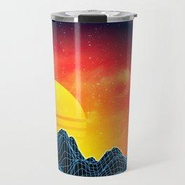 Sunset Vaporwave landscape with rocks and palms Travel Mug