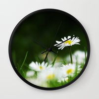 daisies Wall Clocks featuring Daisies by Nathalie Photos