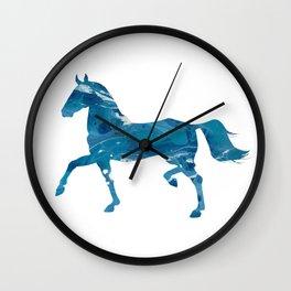 Light Blue Marble Akhal-Teke Horse Silhouette Wall Clock