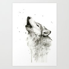Wolf Howling Watercolor Animals Wildlife Painting Animal Portrait Art Print
