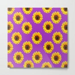 Purple Violet Accents Color Sunflowers Pattern Art Metal Print