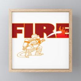 Firefighter Fire Hose Engine Station Brigade Gift Framed Mini Art Print