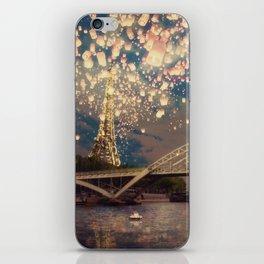 Love Wish Lanterns over Paris iPhone Skin