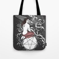 satan Tote Bags featuring Satan Girl by Poison Tree Design