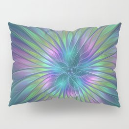 Colorful and luminous Fantasy Flower, Abstract Fractal Art Pillow Sham