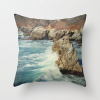 big sur Throw Pillows featuring Big Sur - Embrace me by Jenndalyn