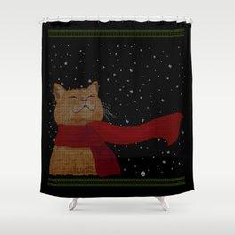 Knitted Wintercat Shower Curtain