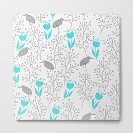 Kiwi Garden - Ice Blue and Gray Metal Print