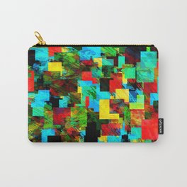 psychedelic geometric square pixel pattern abstract in red blue green yellow Carry-All Pouch