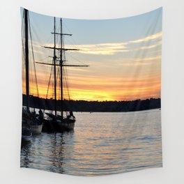 SHIPS AT SUNSET Wall Tapestry