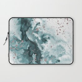 Watercolor meets Glitter  - Turquoise Rose Gold - No 1 Laptop Sleeve