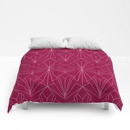 Art Deco in Raspberry Pink Comforters