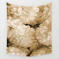 Monochrome Abstract Mums Wall Tapestry