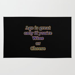 """""""Wine and Cheese"""" Funny Joke in Bold Typography Rug"""