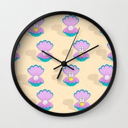 Space Birth of Venus | Astronaut Seashell | Pearl in Seashell | Under the Sea | pulps of wood Wall Clock