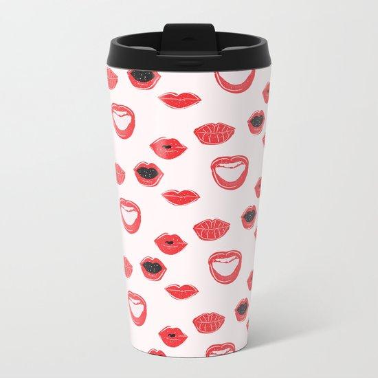 Pretty Lips Pattern Metal Travel Mug