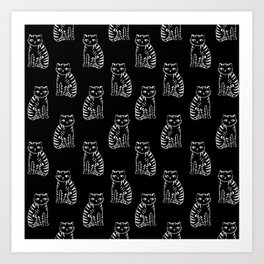 Cat linocut black and white minimal art pattern illustration cat lover gifts Art Print