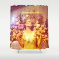 ginger Shower Curtains featuring Ginger & Lemon by Slow Toast