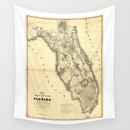 Map of Florida during the Second Seminole War (1839) Wall Tapestry