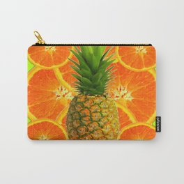 MODERN ART HAWAIIAN PINEAPPLE & ORANGE SLICES FRUIT Carry-All Pouch