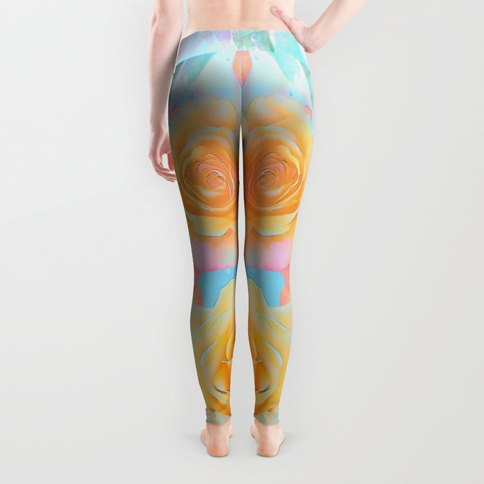 Pastel roses on an abstract water colour background Leggings