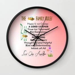 The BEE FAMILY RULES Wall Clock