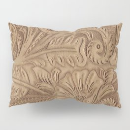 Brown Tooled Leather Print Pillow Sham