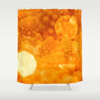 fibonacci Shower Curtains featuring Macro Romanesco Broccoli - Bokeh Gold by Nicolas Raymond