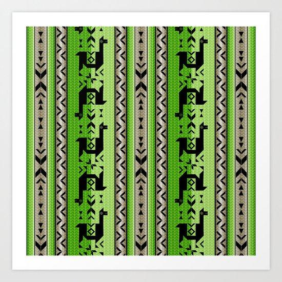 Llamas_Green and WarmGray Art Print