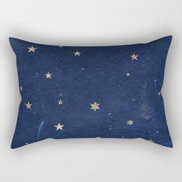 Good night - Leaf Gold Stars on Dark Blue Background Rectangular Pillow