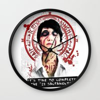 """silent hill Wall Clocks featuring Silent Hill - It's time to complete the """"21 Sacraments"""" by Emme Gray"""