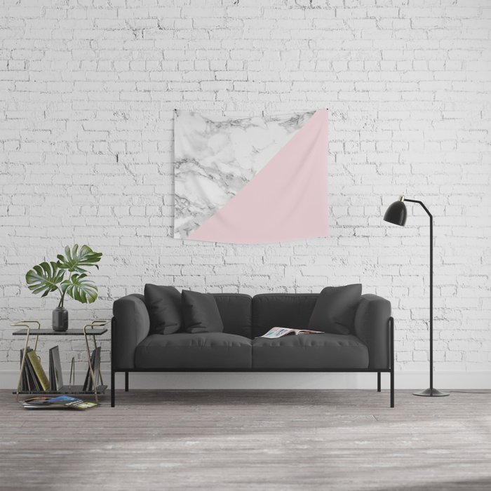 Marble + Pastel Pink Wall Tapestry