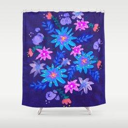 Blue Harvest Blooms Shower Curtain