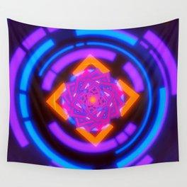 Red Flower of Infinitely Flowing Geometry Wall Tapestry