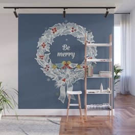Christmas wreath with birds Wall Mural