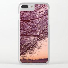 Purple Tree, Coral Orange Sky Clear iPhone Case