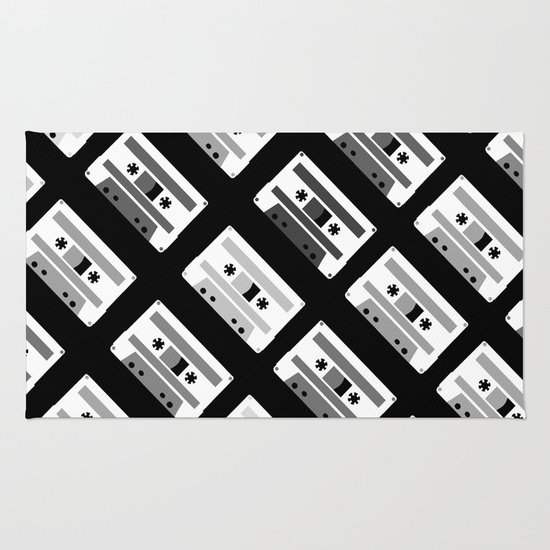 Black and White Tapes 45 Rug