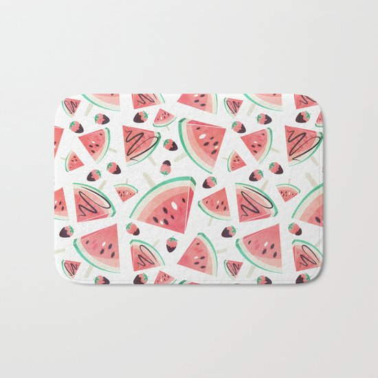 Watermelon popsicles, strawberries and chocolate Bath Mat