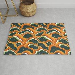 Retro 70s Boho Clouds Oranges greens Rug