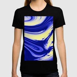 Blue and Yellow Swirls - Liquid Paint T-shirt