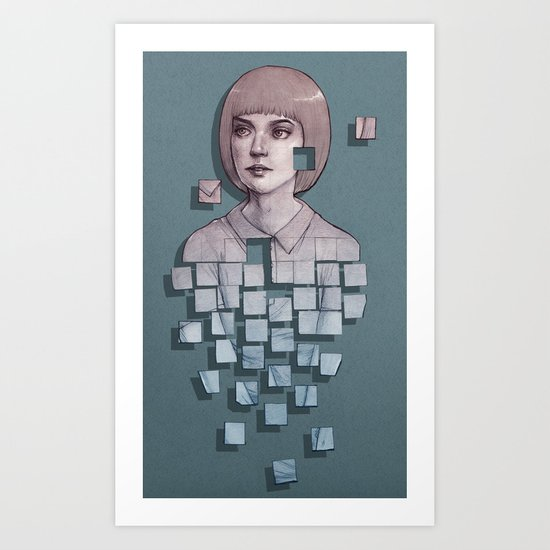Portrait of pixelating girl Art Print