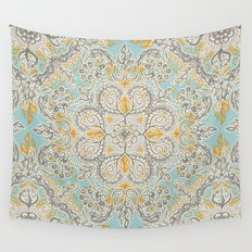 Gypsy Floral in Soft Neutrals, Grey & Yellow on Sage Wall Tapestry