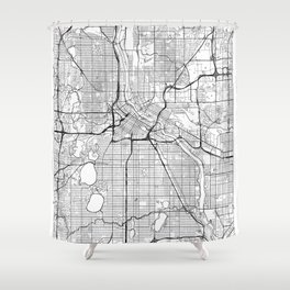 Minneapolis Map White Shower Curtain