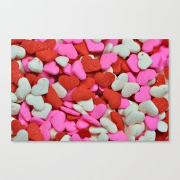 Pink and red candy hearts Canvas Print