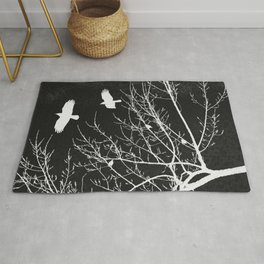 Crows Flying Over Trees Negative Silhouette Rug