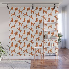 Red Poodles Pattern Wall Mural